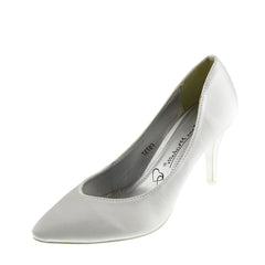 Ladies heels wedding  satin bridal shoes - White court