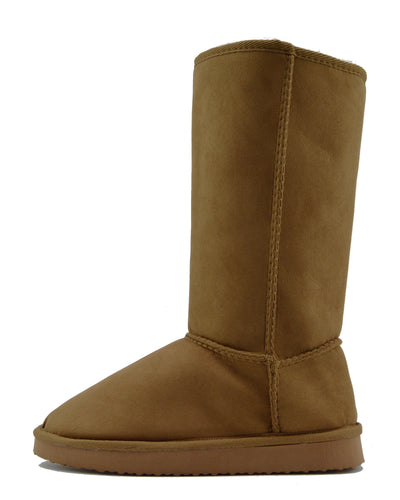 WINTER WOMENS GRIP SOLE MID CALF FAUX SHEEPSKIN FUR WARM SNOW BOOTS SHOES - Chestnut