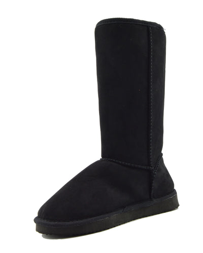 WINTER WOMENS GRIP SOLE MID CALF FAUX SHEEPSKIN FUR WARM SNOW BOOTS SHOES - Black