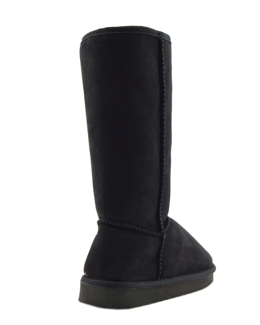 Holly Mid Calf Faux sheepskin Lined Winter Boots -Black