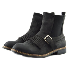 Brogue Detail Pull On Fringe Chelsea Style Boots - Black