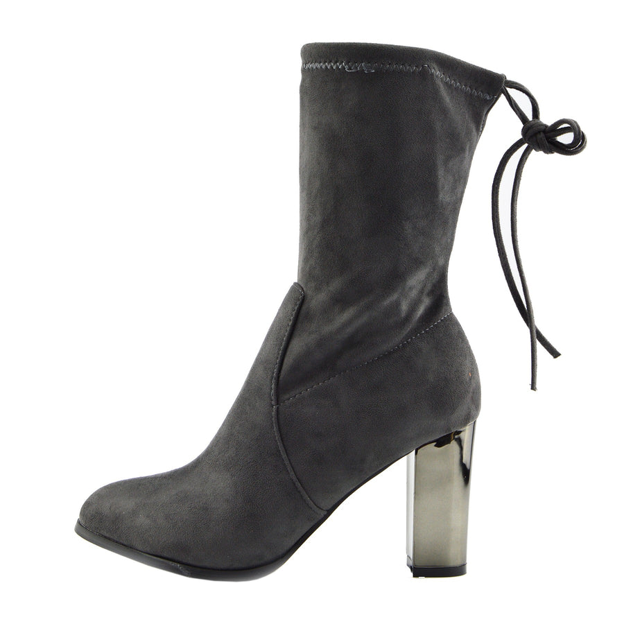 Maya Tie Back Metallic Block Heel Sock Boots - Grey