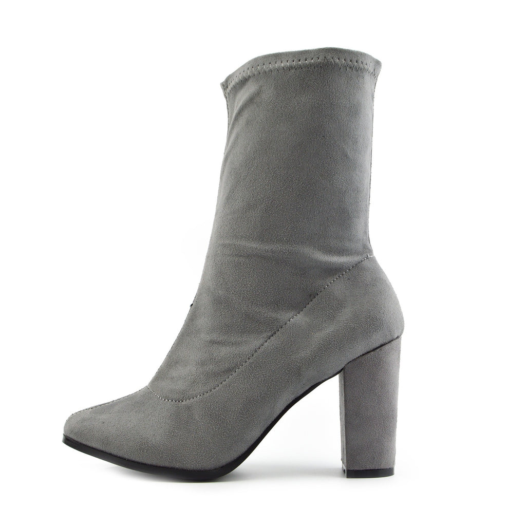 Maya Elasticated Block Heel Sock Boots - Grey