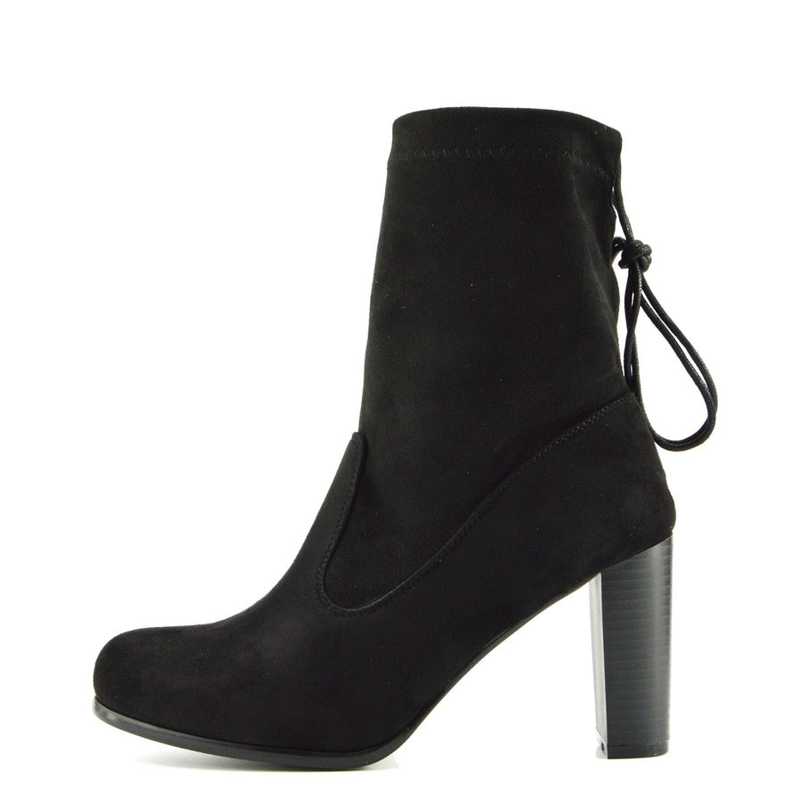 Maya Elasticated Block Heel Sock Boots - Black