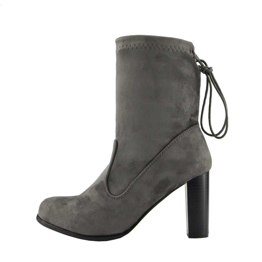 Maya Tie Back Block Heel Sock Boots - Grey