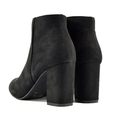 Low Heel Classic Office Chelsea Ankle Boots - Black