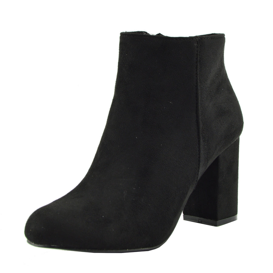 Classic Soft Faux Suede Ankle Boots - Black