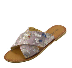 Womens Flowers Print Sandals Flip Flops Flat  Beach Shoes - Floral Print Pink