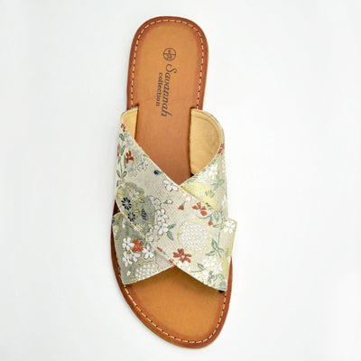 Womens Flowers Print Sandals Flip Flops Flat  Beach Shoes - Floral Print Beige