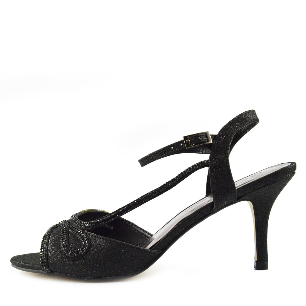 Sparkle Swirl Strappy Sandals - Black