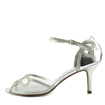Women's Heel Wedding Sandals with Buckle Ankle Strap Shoes - Silver