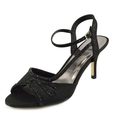 Women's Heel Wedding Sandals with Buckle Ankle Strap Shoes - Black