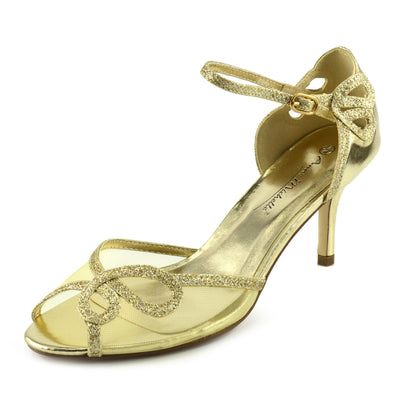 Women's Heel Wedding Sandals with Buckle Ankle Strap Shoes - Gold