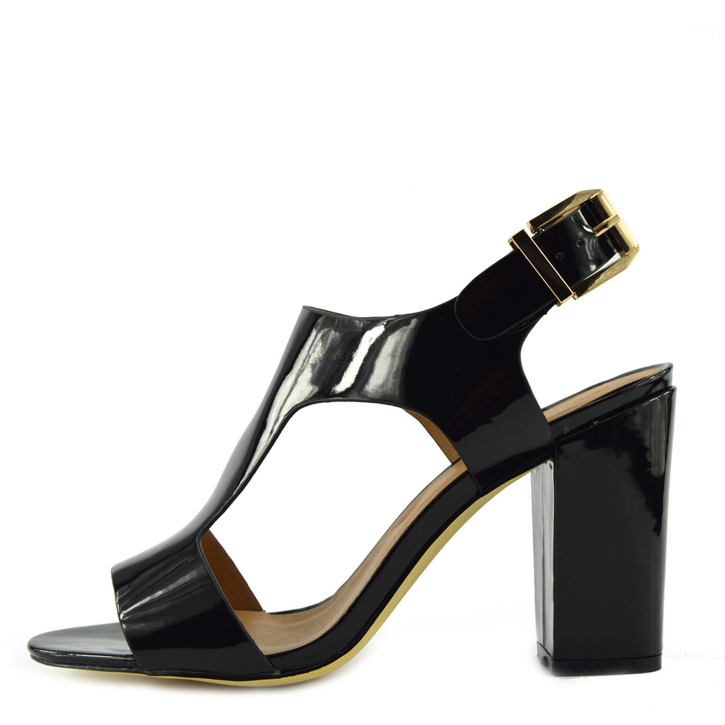 Multi Wide Strap Block Heel Sandals - Black Patent