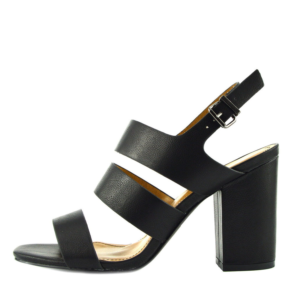 Multi Wide Strap Block Heel Sandals - Black