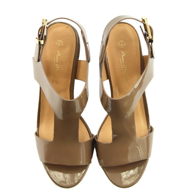 Women's Heeled Sandals with Buckle Ankle Strap Black Patent Sandals - Taupe