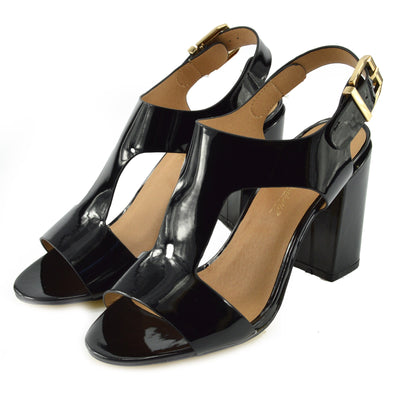 Women's Heeled Sandals with Buckle Ankle Strap Black Patent Sandals - Black Patent