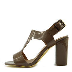 Multi Wide Strap Block Heel Sandals - Taupe