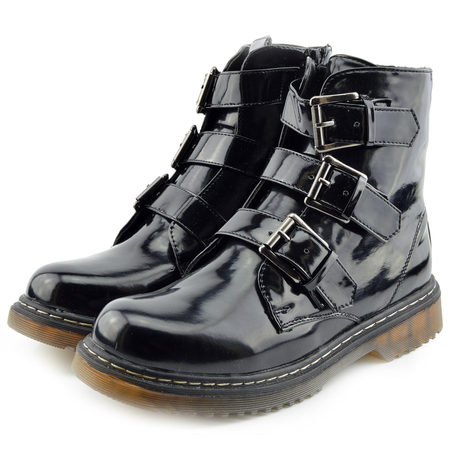 Bailey Double Buckle Flat Punk Biker Boots - Black Patent AB04