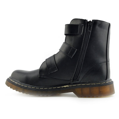 Bailey Double Buckle Flat Punk Biker Boots - Black Matt AB04