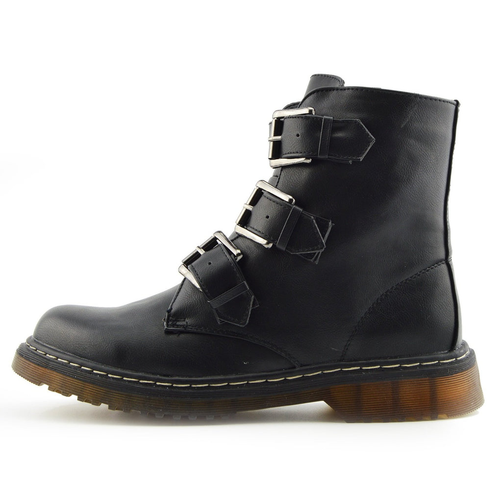Bailey Double Buckle Boots - Black Matt