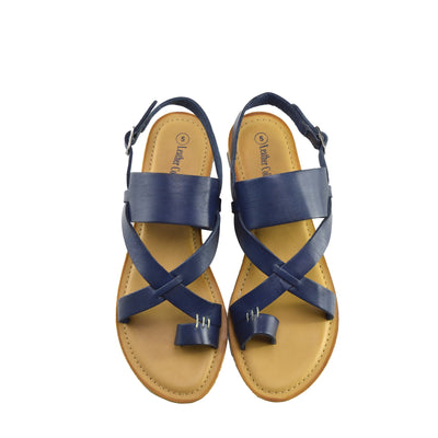 Eden Leather Comfort Sole Festival Sandals - Navy