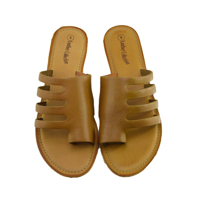 Womens Summer Comfort Colour Leather Sandals - Tan