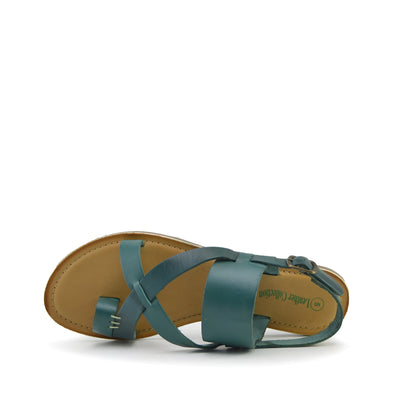 Eden Leather Comfort Sole Festival Sandals - Green