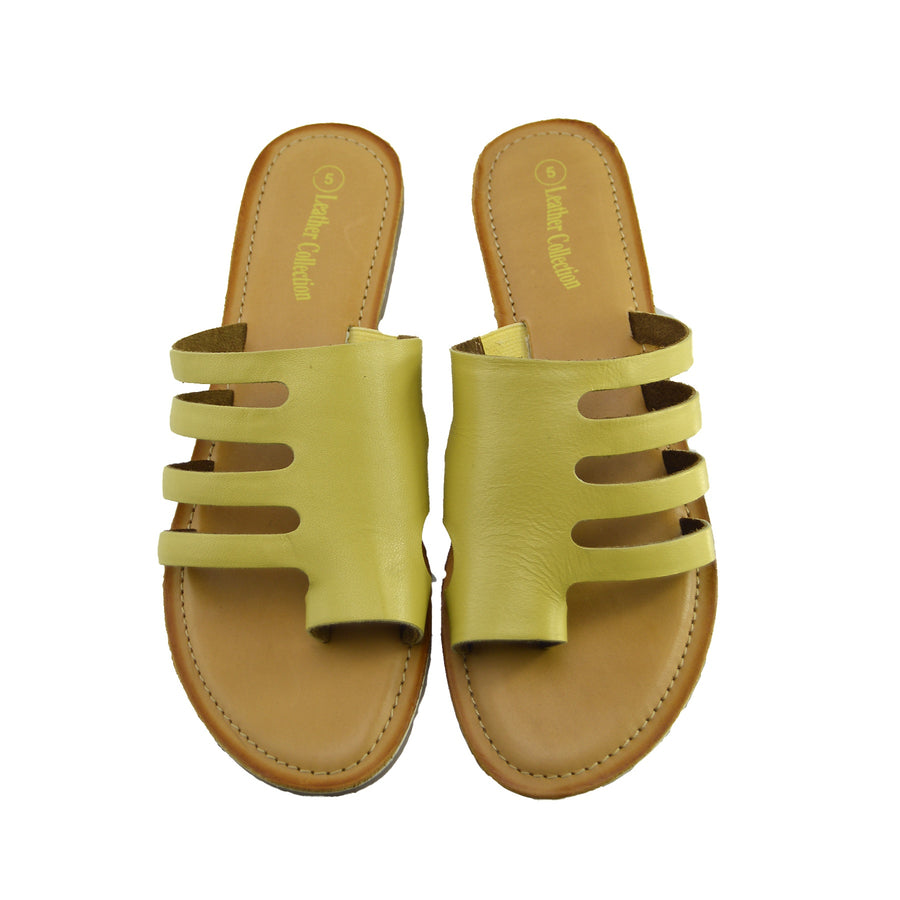 Womens Summer Comfort Colour Leather Sandals - Yellow