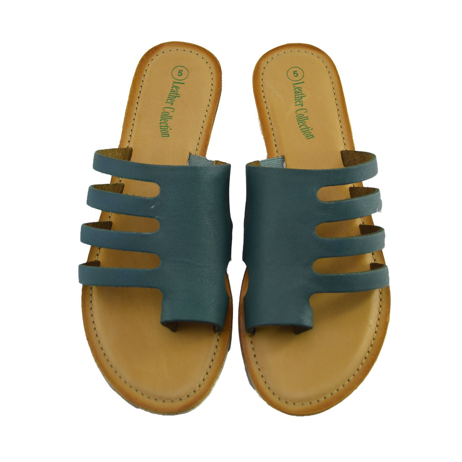 Womens Summer Comfort Colour Leather Sandals - Green
