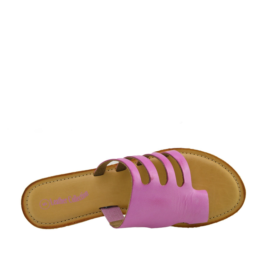 Womens Summer Comfort Colour Leather Sandals - Fuchsia