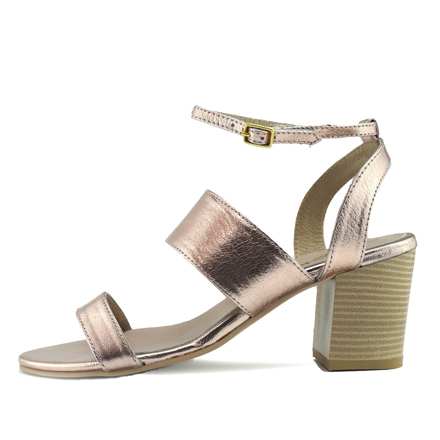 Leila Leather Block Heel Sandals - Rose Gold