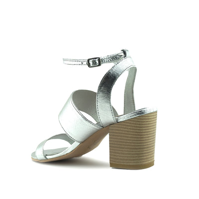 Women's Summer Comfort Leather Heeled Sandals - Silver