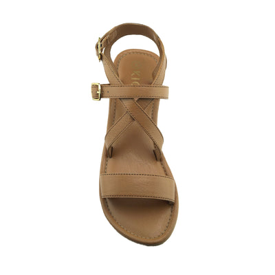 Women's Summer Comfort Leather Sandals Strappy Holiday Shoes - Tan