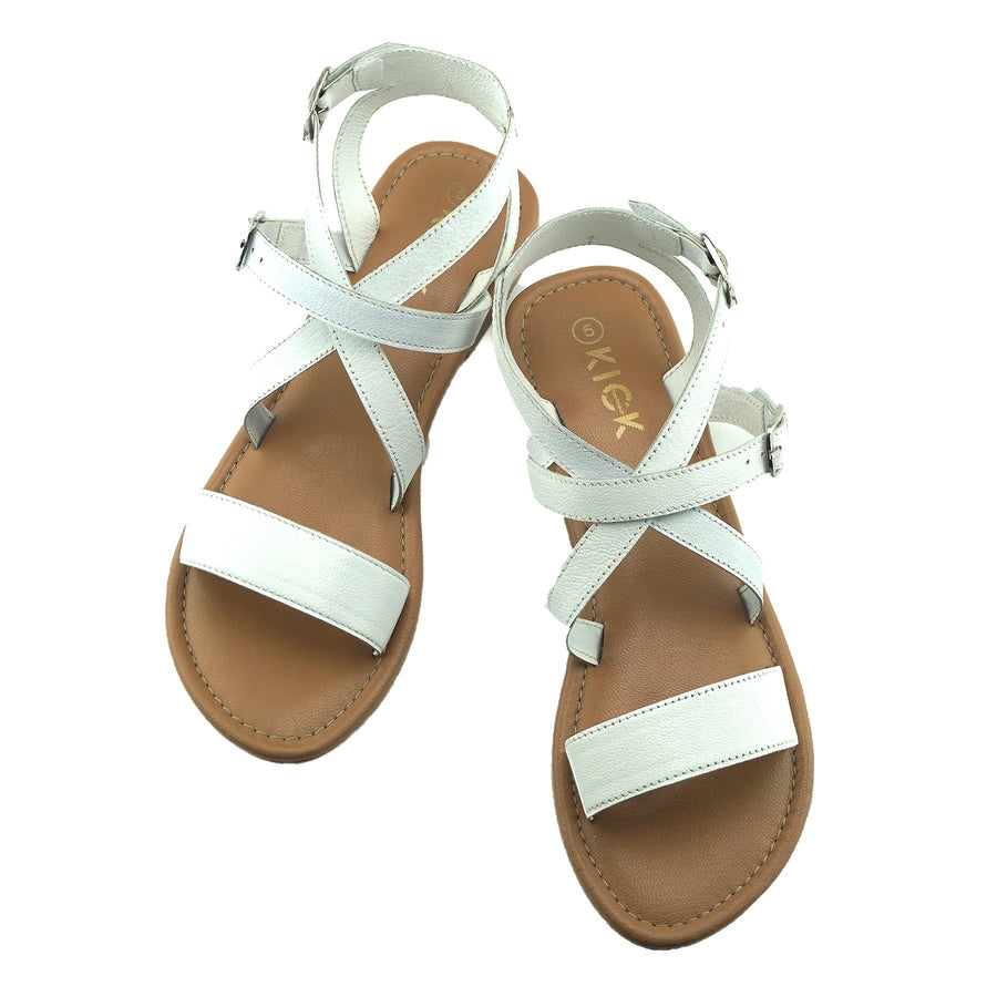 Women's Summer Comfort Leather Sandals Strappy Holiday Shoes - White