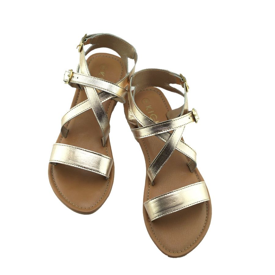 Women's Summer Comfort Leather Sandals Strappy Holiday Shoes - Gold
