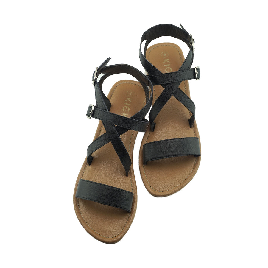 Women's Summer Comfort Leather Sandals Strappy Holiday Shoes - Black