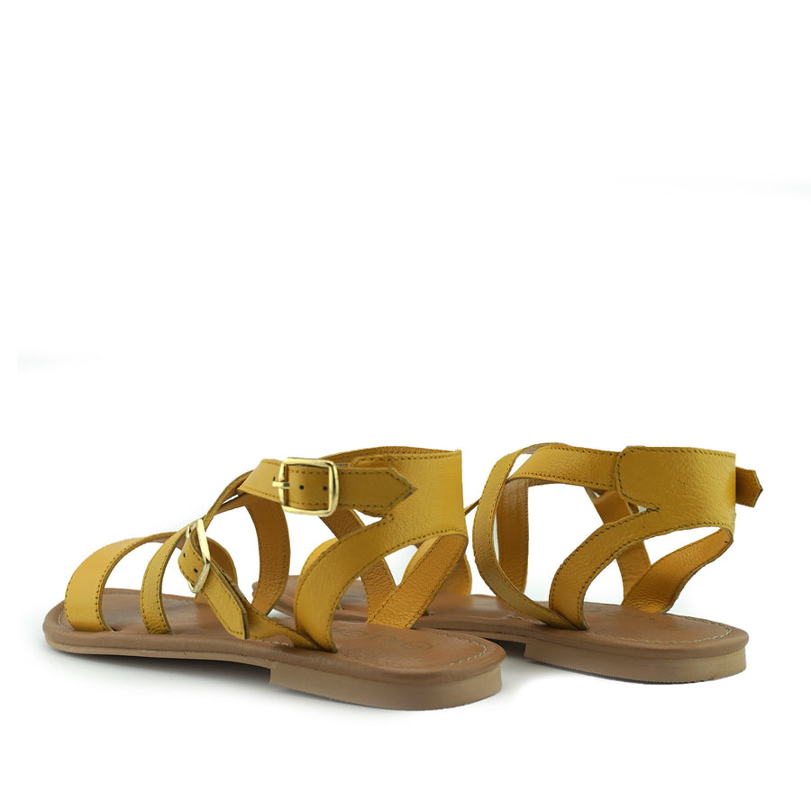Women's Summer Comfort Leather Sandals Strappy Holiday Shoes - Yellow