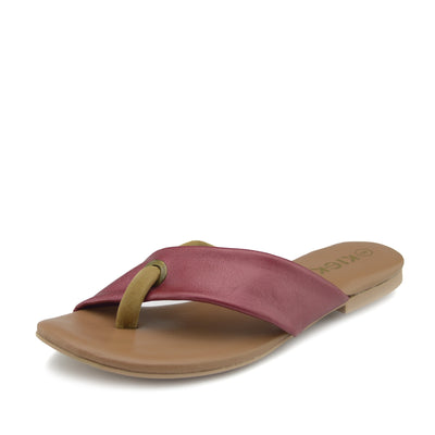 June Leather Strap Comfort Sole Sandals - Coral