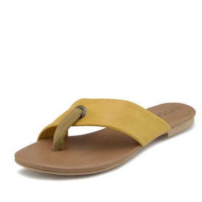 June Leather Strap Comfort Sole Sandals - Yellow