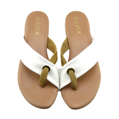 June Leather Strap Comfort Sole Sandals - White