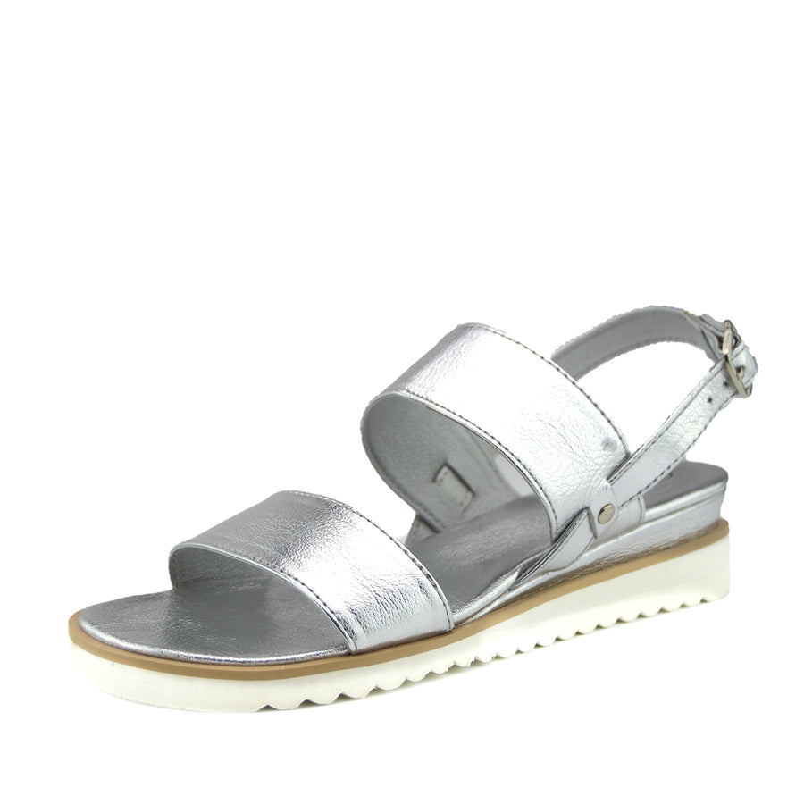 Elin Comfort Leather Sandals - Silver