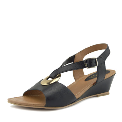 Women's Summer Comfort Wedge Leather Sandals Low Mid Heel Holiday Shoes - Black