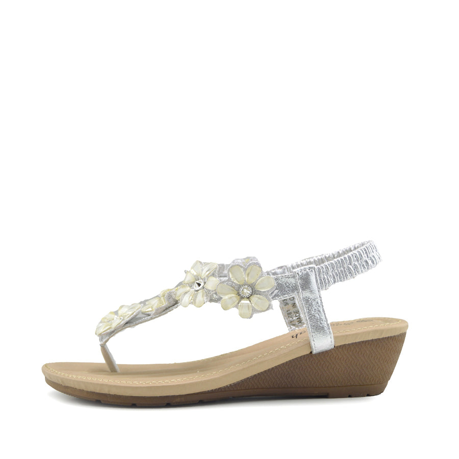 Women's Summer Comfort Wedge Sandals Low Mid Heel Holiday Shoes - Silver