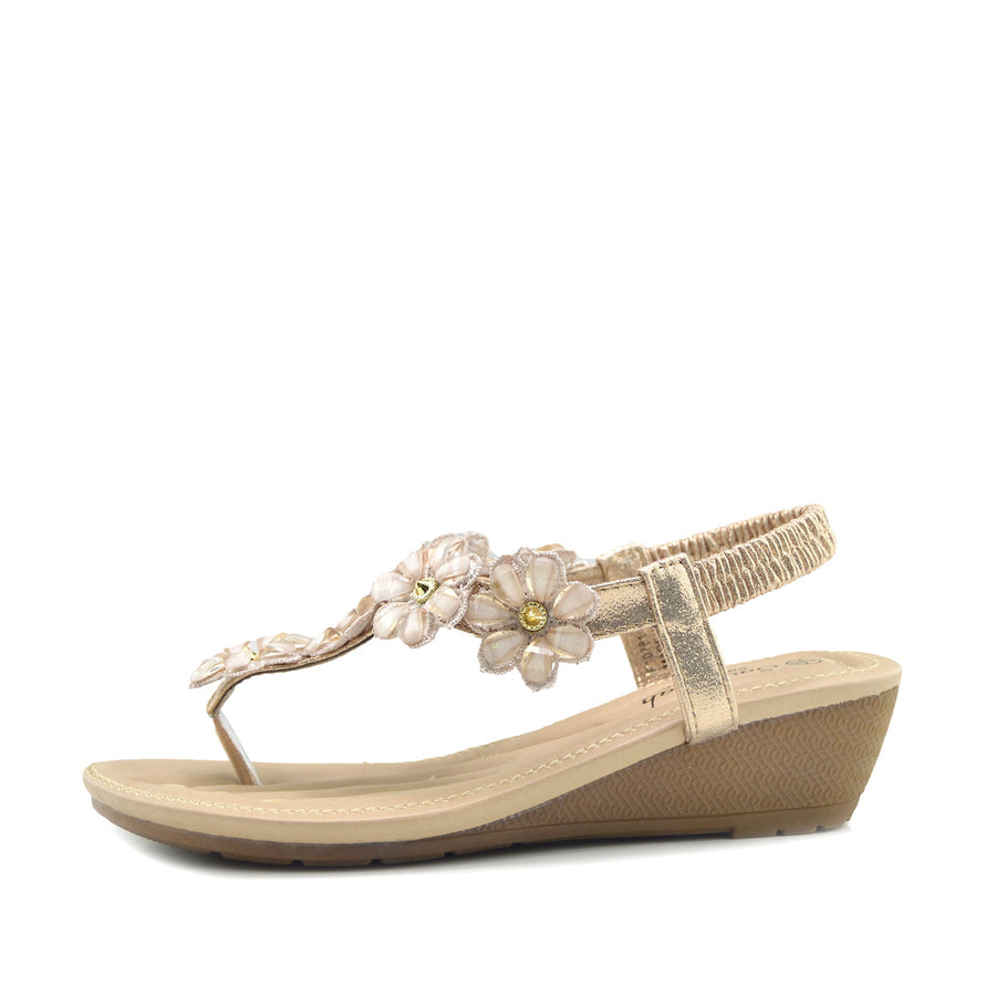 Women's Summer Comfort Wedge Sandals Low Mid Heel Holiday Shoes - Gold
