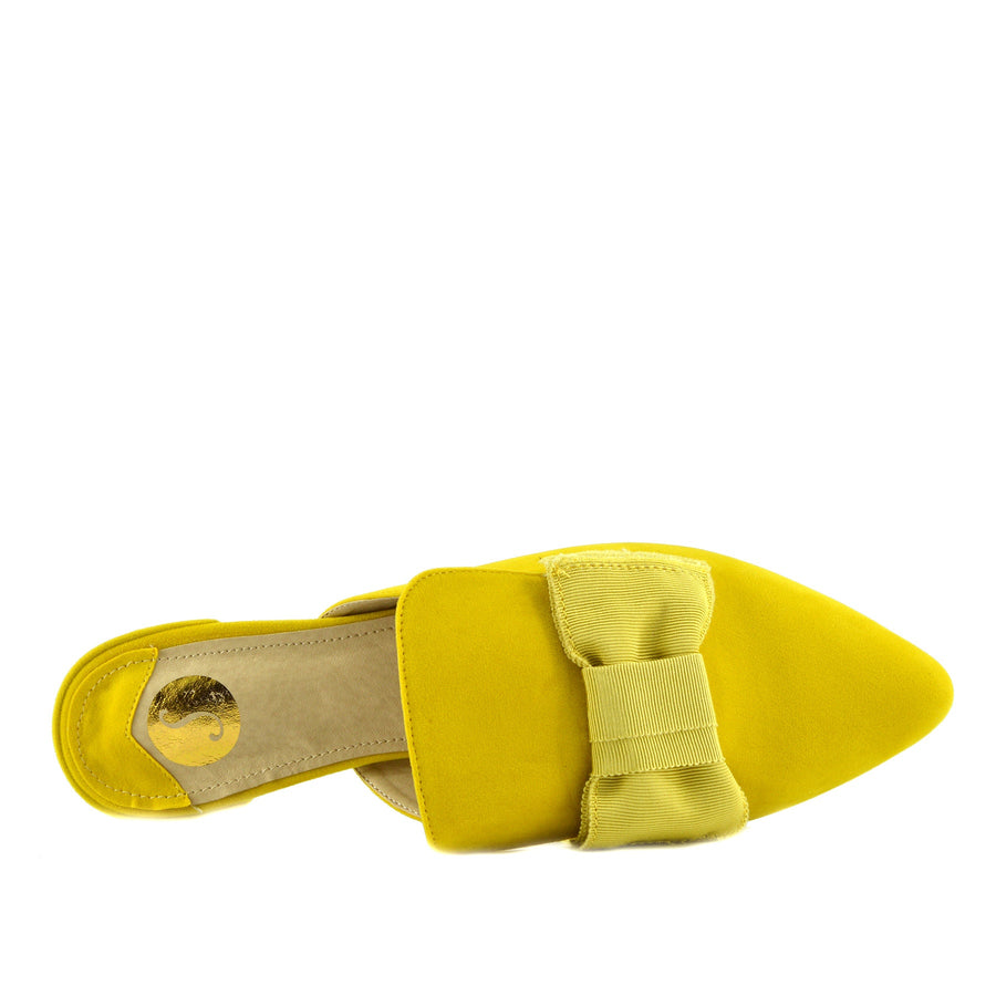 Women's Yellow Velvet Point Slipper Shoes  Casual Mules Pointed Flat Slippers - Yellow