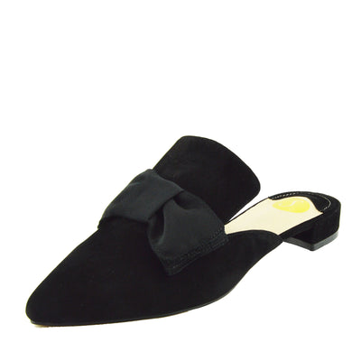 Women's Yellow Velvet Point Slipper Shoes  Casual Mules Pointed Flat Slippers - Black