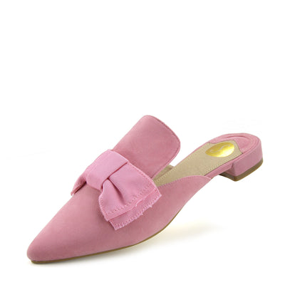 Velvet Point Slipper Shoes  Casual Mules Pointed Flat Slippers - Pink