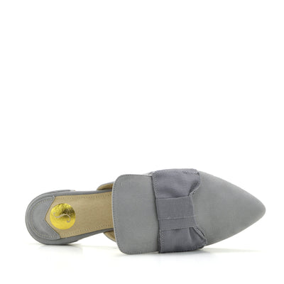 Women's Yellow Velvet Point Slipper Shoes  Casual Mules Pointed Flat Slippers - Grey