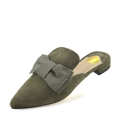 Women's Yellow Velvet Point Slipper Shoes  Casual Mules Pointed Flat Slippers - Khaki
